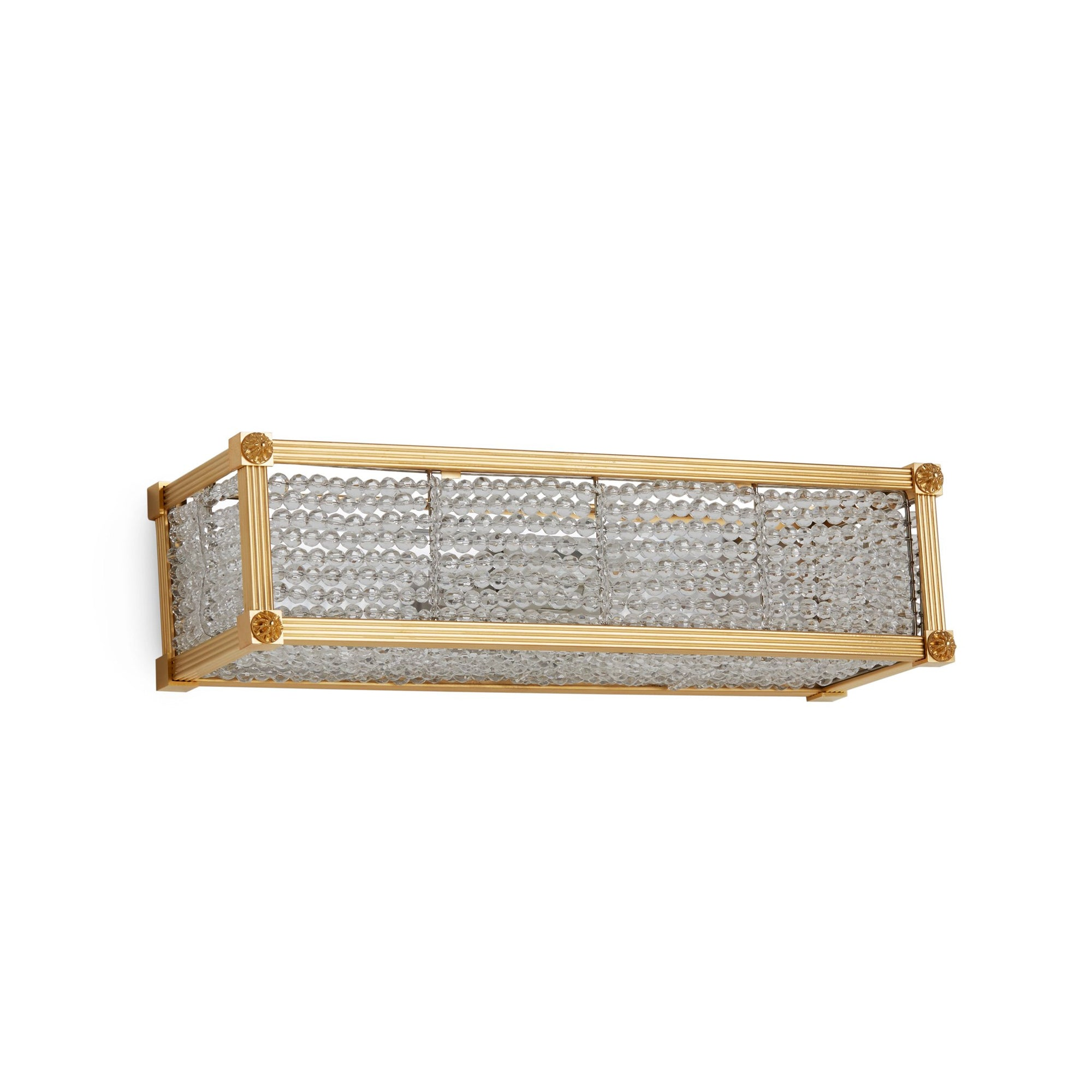 7107CB-16-GP Sherle Wagner International Reeded with Rosette Crystal Beaded Panel Light in Burnished Gold metal finish
