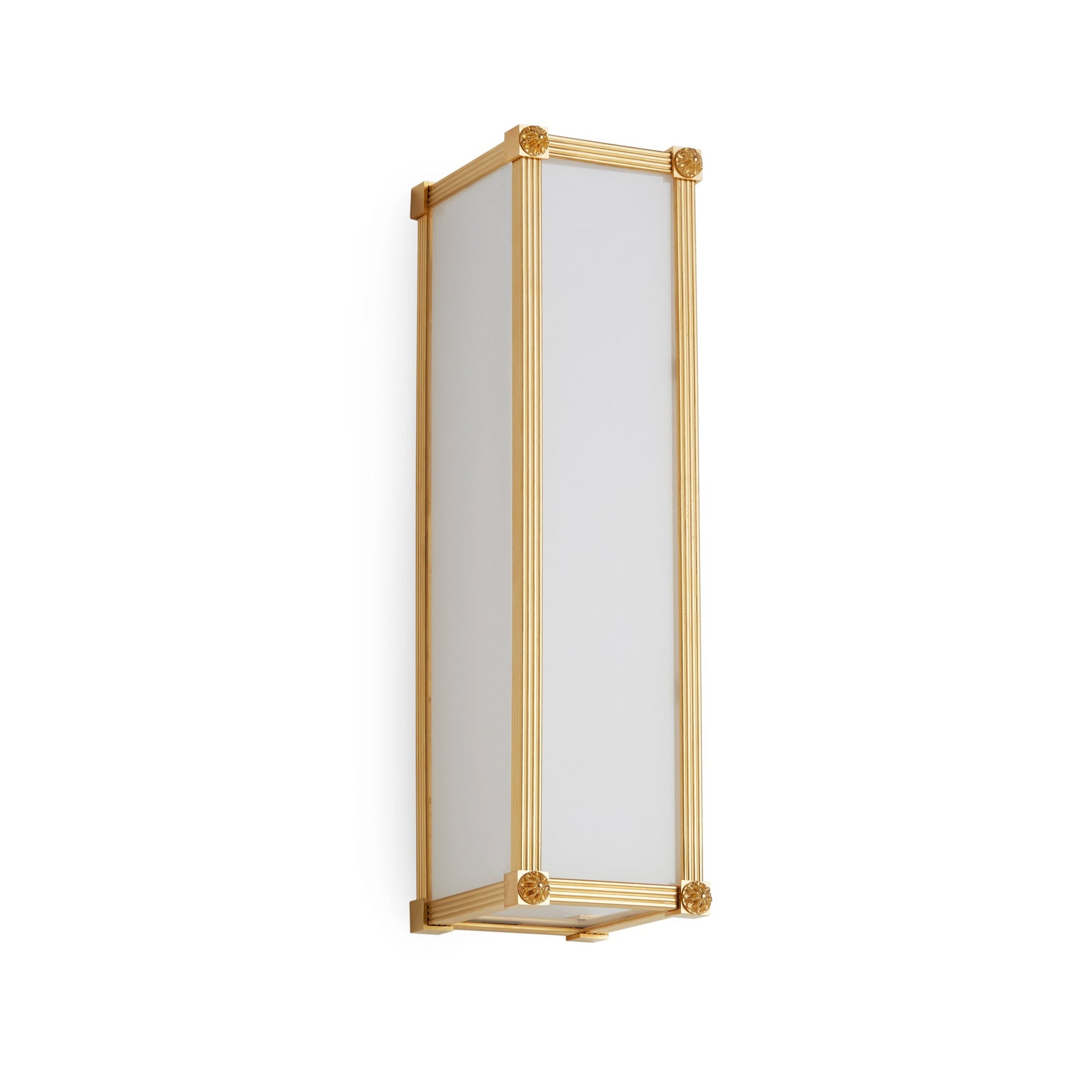 7107FG-16-VERT-GP Sherle Wagner International Reeded with Rosette Frosted Glass Panel Light in Burnished Gold metal finish