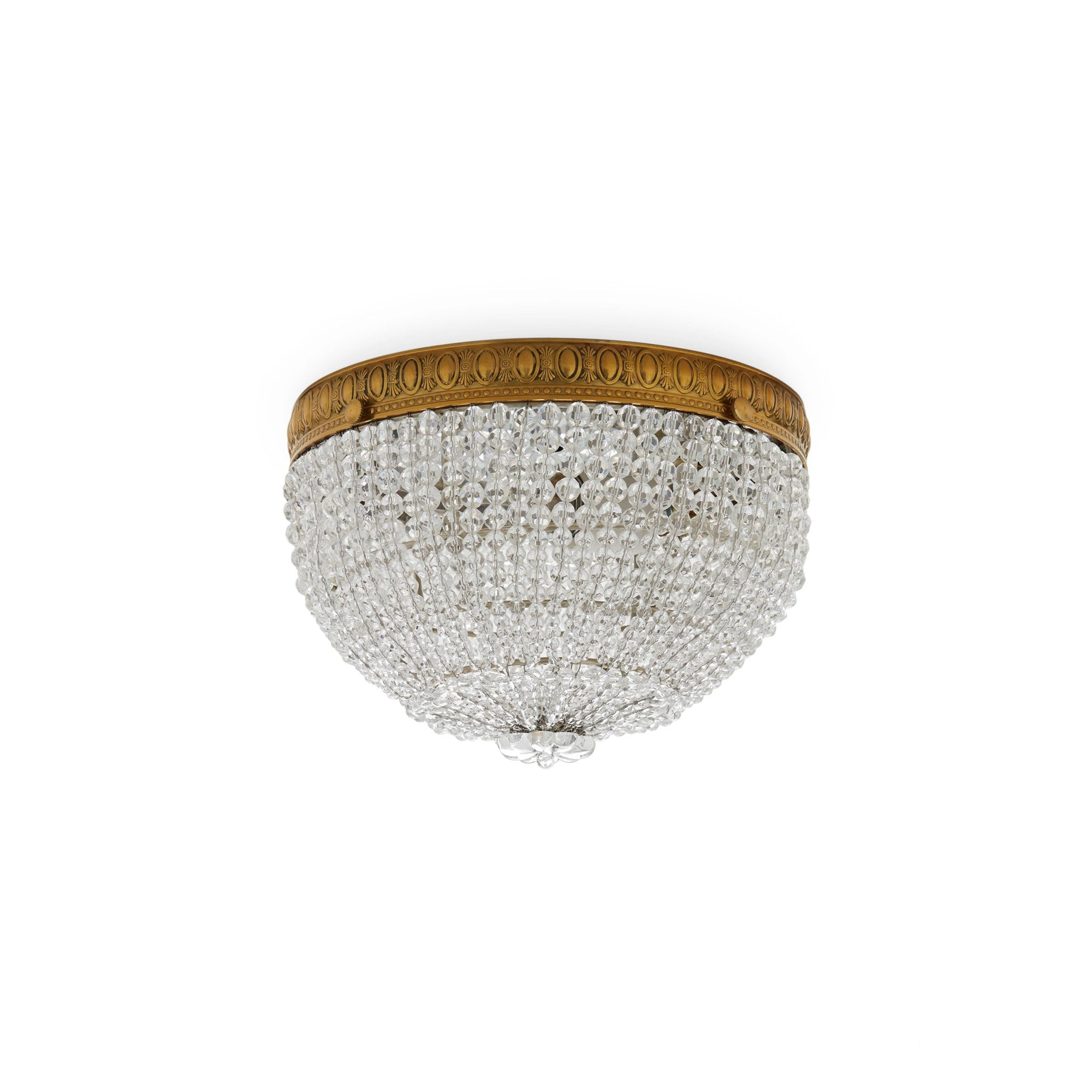 7108-G Sherle Wagner International Round Crystal Beaded Ceiling Light Light 8 inches in French Gold