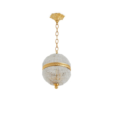 7108-PNDT-CHNS-GP Sherle Wagner International Globe Crystal Beaded Chain Pendant Light 8 inches in Gold plate metal finish