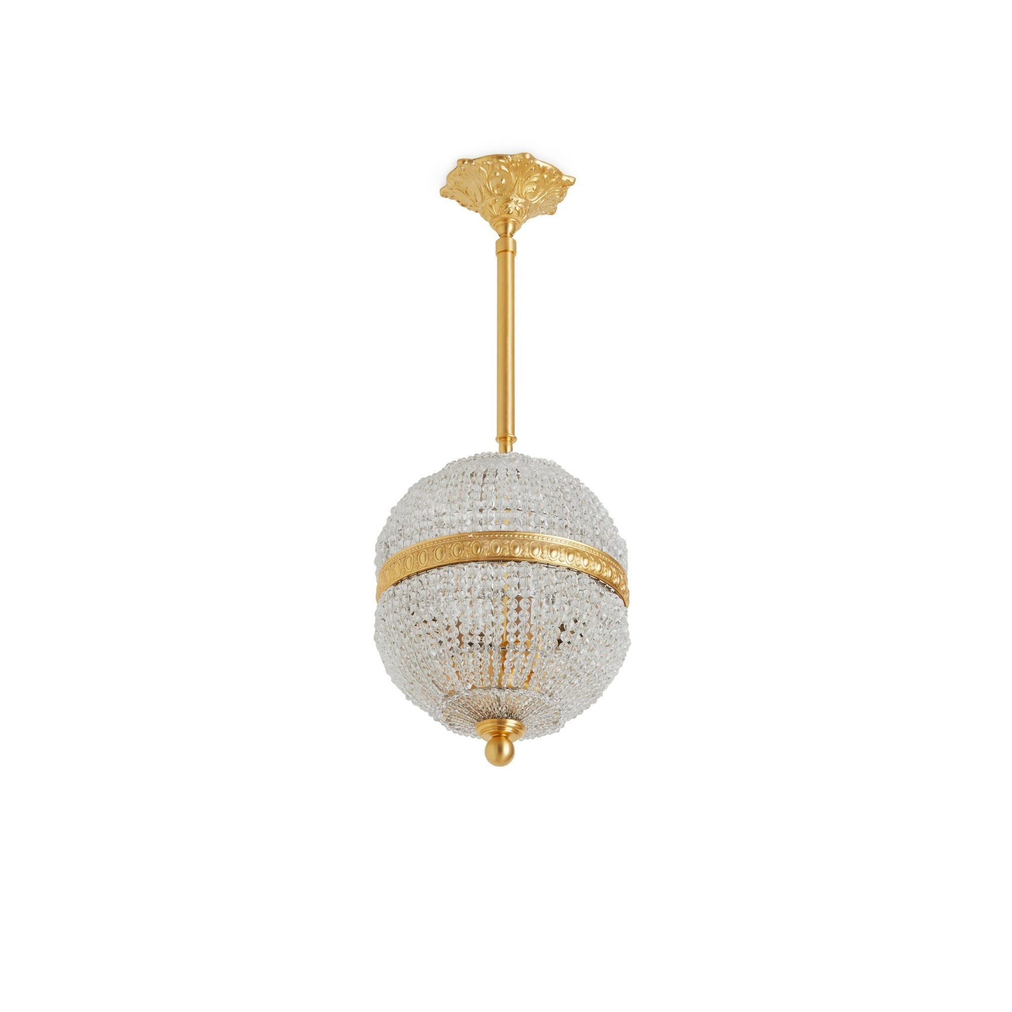 7108-PNDT-GP Sherle Wagner International Globe Crystal Beaded Pendant Light 8 inches in Gold plate metal finish