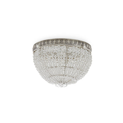 7108-S Sherle Wagner International Round Crystal Beaded Ceiling Light Light 8 inches in French Silver
