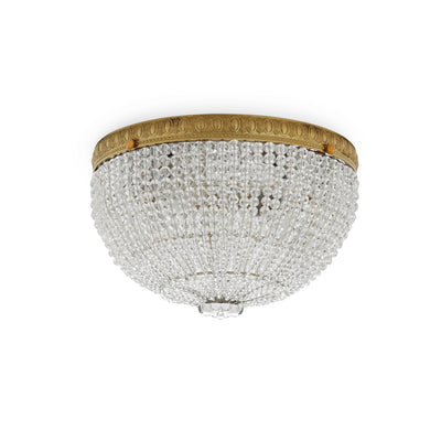 7110-G Sherle Wagner International Round Crystal Beaded 10 inches Ceiling Light Light inFrench Gold