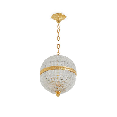 7110-PNDT-CHNS-GP Sherle Wagner International Globe Crystal Beaded 10 inches Pendant Light in Gold plate metal finish