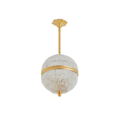 7110-PNDT-GP Sherle Wagner International Globe Crystal Beaded 10 inches Pendant Light in Gold plate metal finish