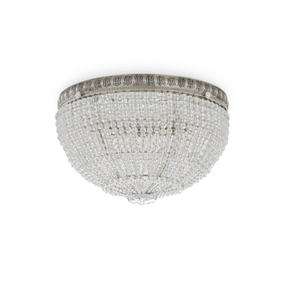 7110-S Sherle Wagner International Round Crystal Beaded 10 inches Ceiling Light Light inFrench Silver