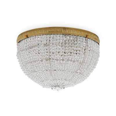 7112-G Sherle Wagner International Round Crystal Beaded 12 inches Ceiling Light Light French Gold