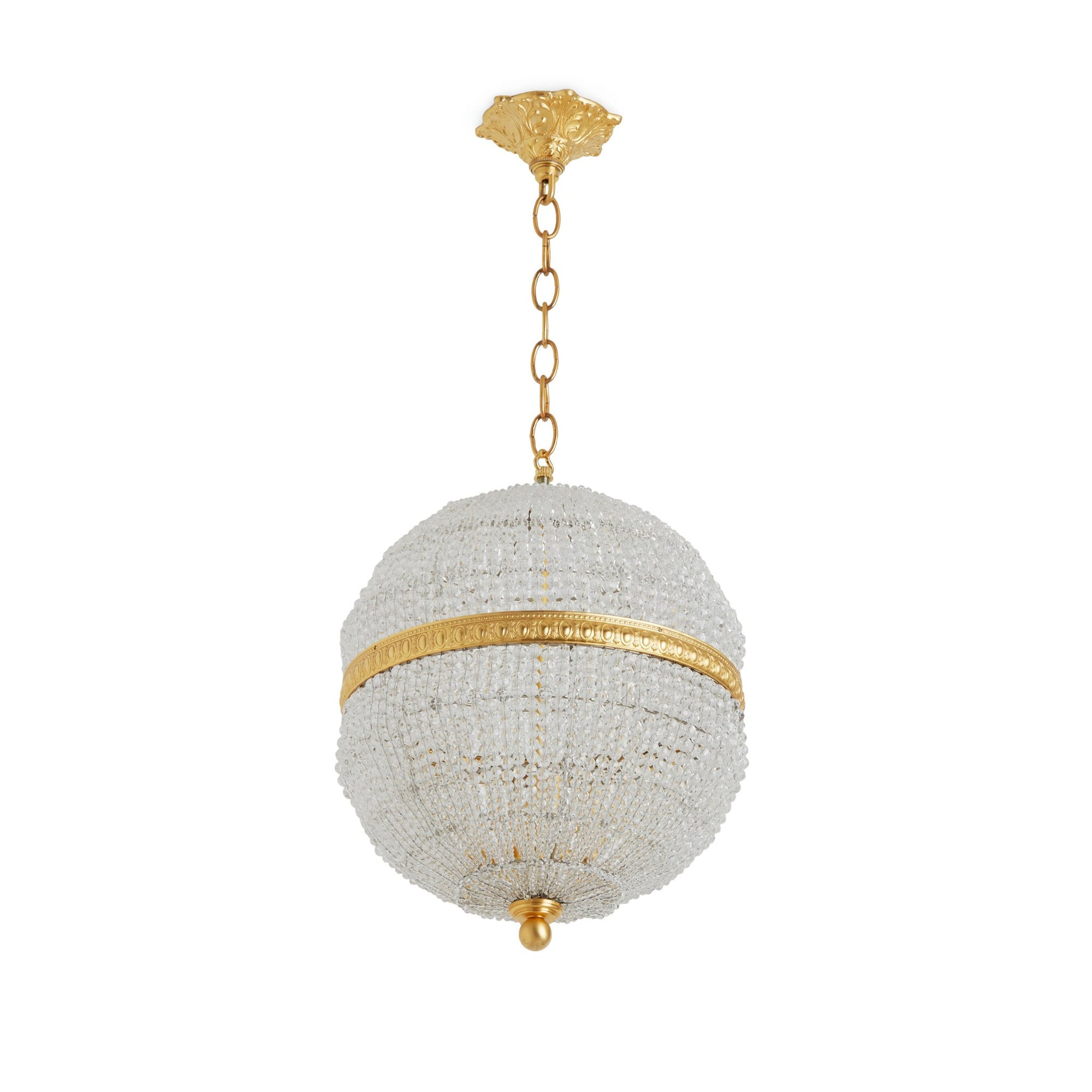 7112-PNDT-CHNS-GP Sherle Wagner International Globe Crystal Beaded 12 inches Pendant Light Gold plate metal finish