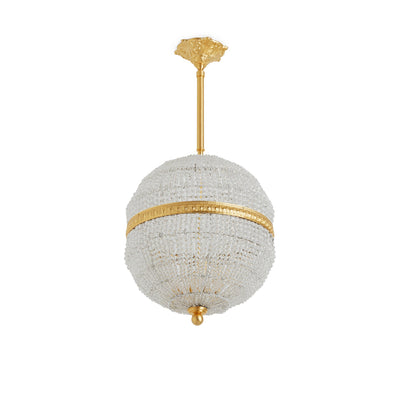 7112-PNDT-GP Sherle Wagner International Globe Crystal Beaded 12 inches Pendant Light Gold plate metal finish
