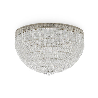 7112-S Sherle Wagner International Round Crystal Beaded 12 inches Ceiling Light Light French Silver