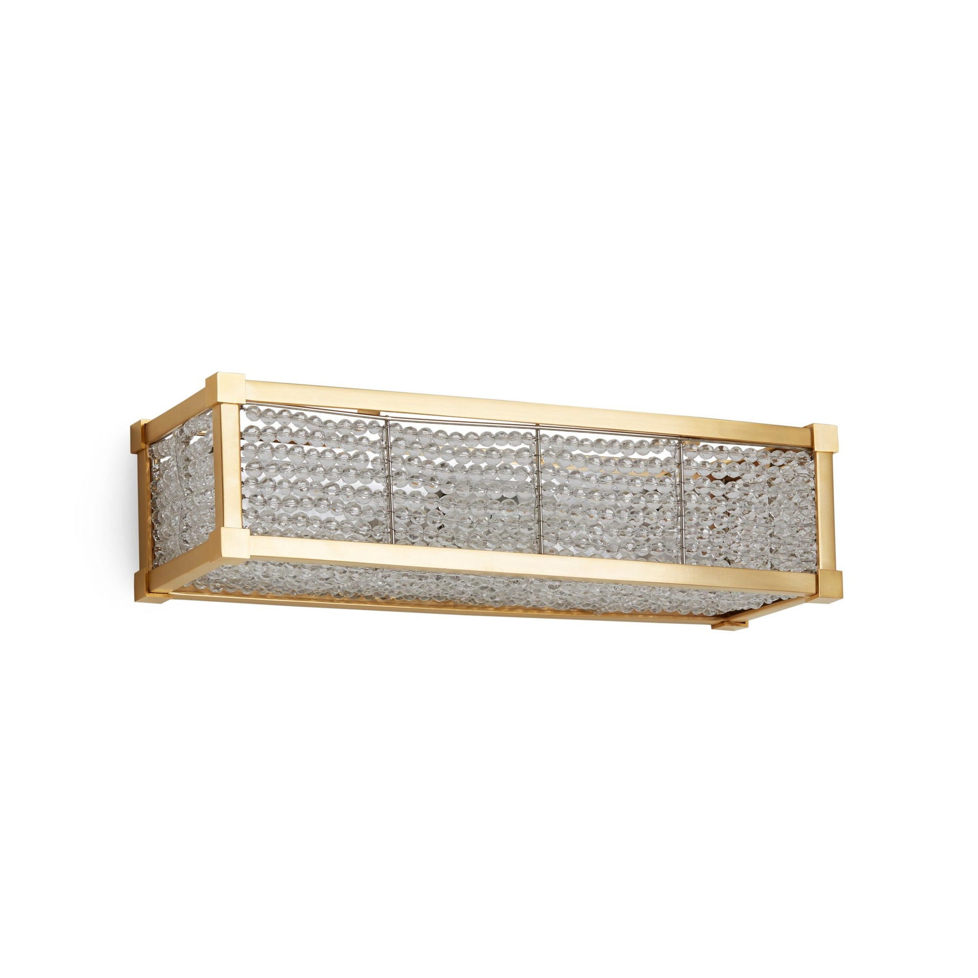 7114CB-16-GP Sherle Wagner International Square Knuckle Crystal Beaded Panel Light in Gold Plate metal finish