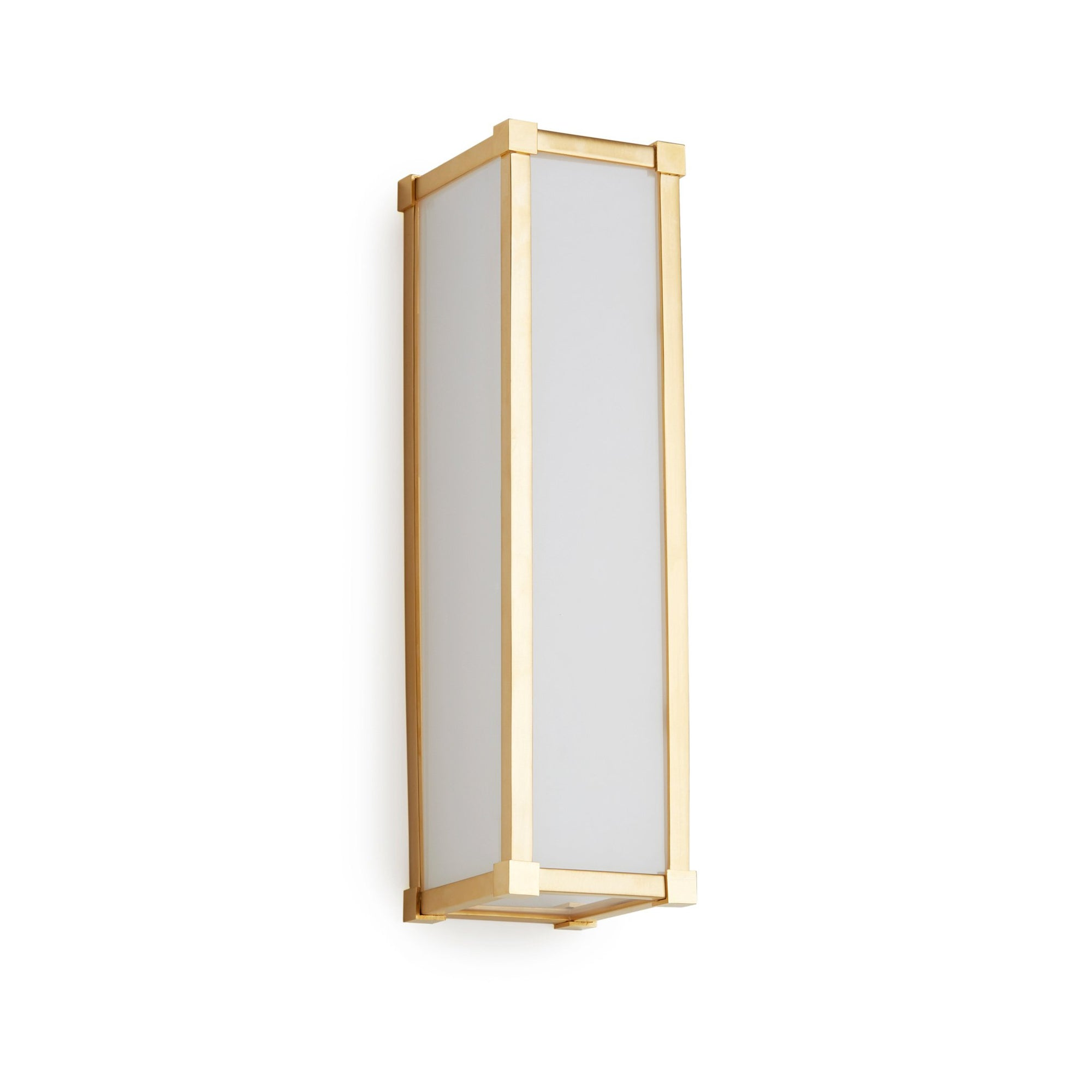 7114FG-16-VERT-GP Sherle Wagner International Square Knuckle Frosted Glass Panel Light in Gold Plate metal finish