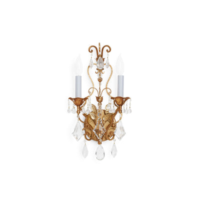 7117-G Sherle Wagner International Scroll & Crystal Sconce in Florentine Gold