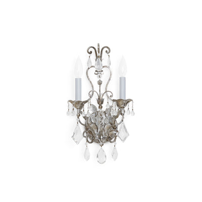 7117-S Sherle Wagner International Scroll & Crystal Sconce in Florentine Silver