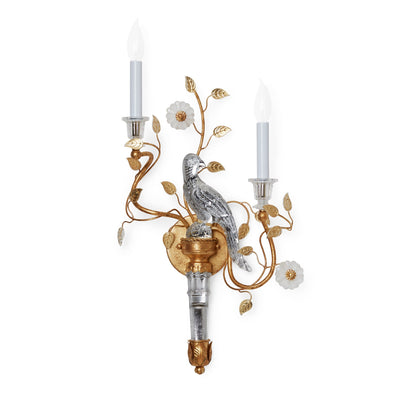 7119-LH-G Sherle Wagner International Crystal Bird Torch Sconces in Florentine Gold