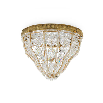 7120-G Sherle Wagner International Crystal Dome Ceiling Light with Renaissance Canopy in Florentine Gold metal finish