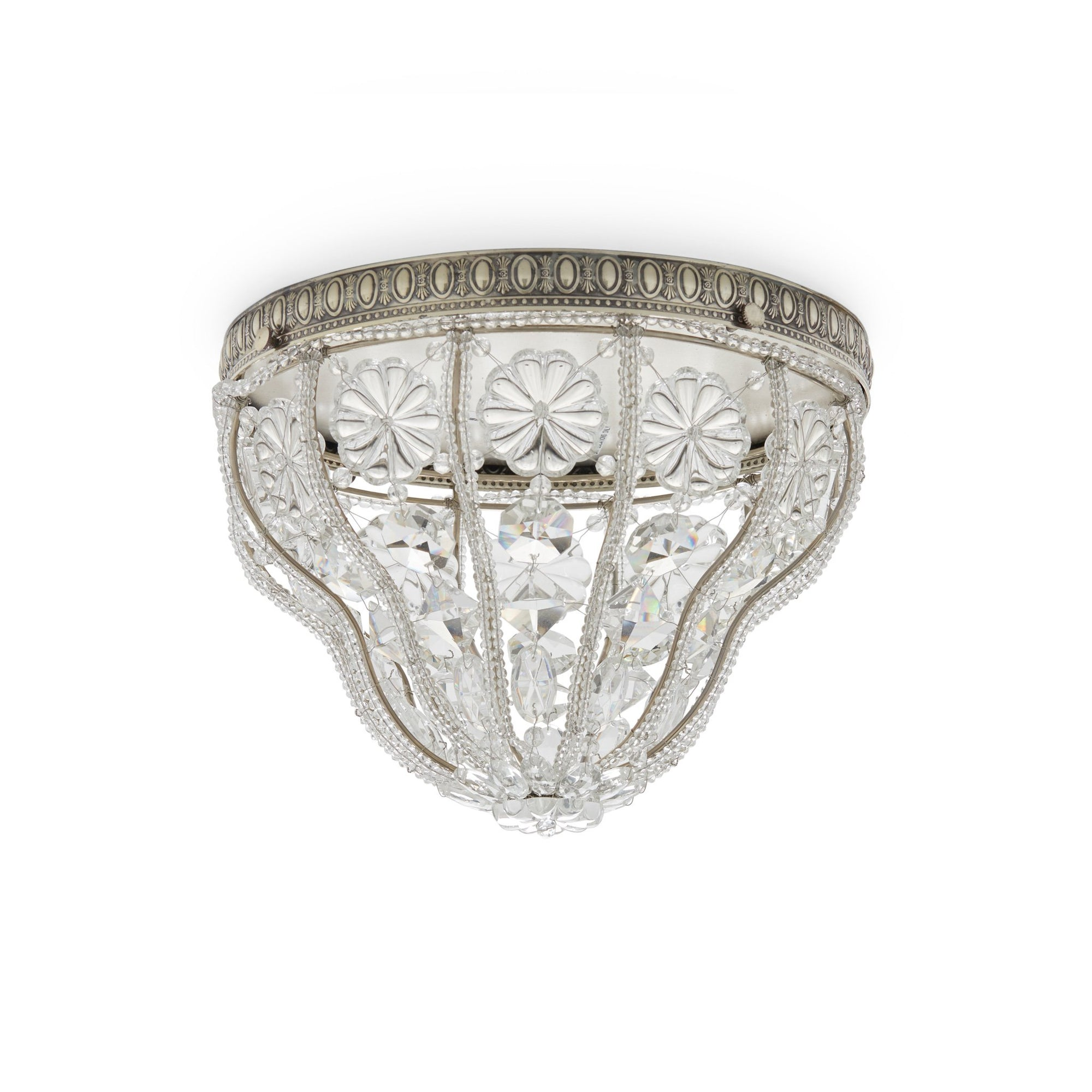 7120-S Sherle Wagner International Crystal Dome Ceiling Light with Renaissance Canopy in Florentine Silver metal finish