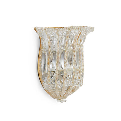 7121-G Sherle Wagner International Crystal Basket Sconce in Florentine Silver metal finish
