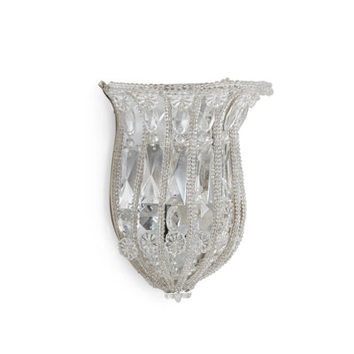 7121-S Sherle Wagner International Crystal Basket Sconce in Florentine Silver metal finish