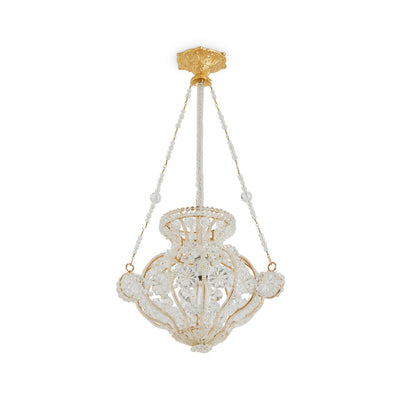 7122-GP Sherle Wagner International Crystal Chandelier with Renaissance Canopy in Gold plate metal finish