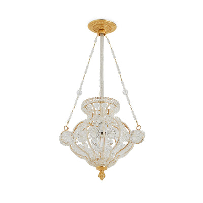 7122AC-GP Sherle Wagner International Crystal Chandelier with Acanthus Canopy in Gold plate metal finish