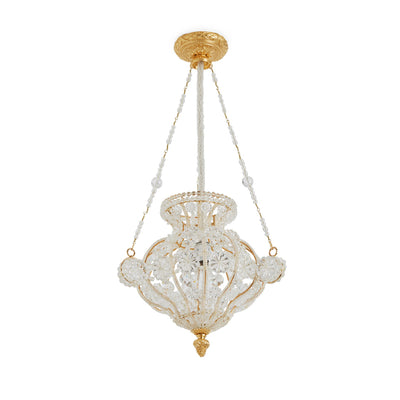 7122LX-GP Sherle Wagner International Crystal Chandelier with Louis XVI Canopy in Gold plate metal finish