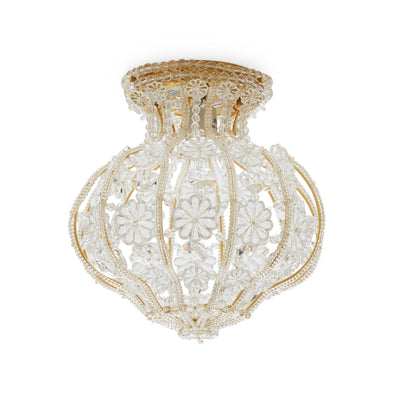 7123-G Sherle Wagner International Crystal Ceiling Light with Renaissance Canopy in Florentine Gold metal finish