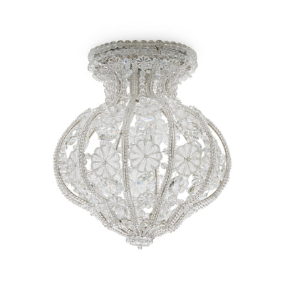 7123-S Sherle Wagner International Crystal Ceiling Light with Renaissance Canopy in Florentine Silver metal finish