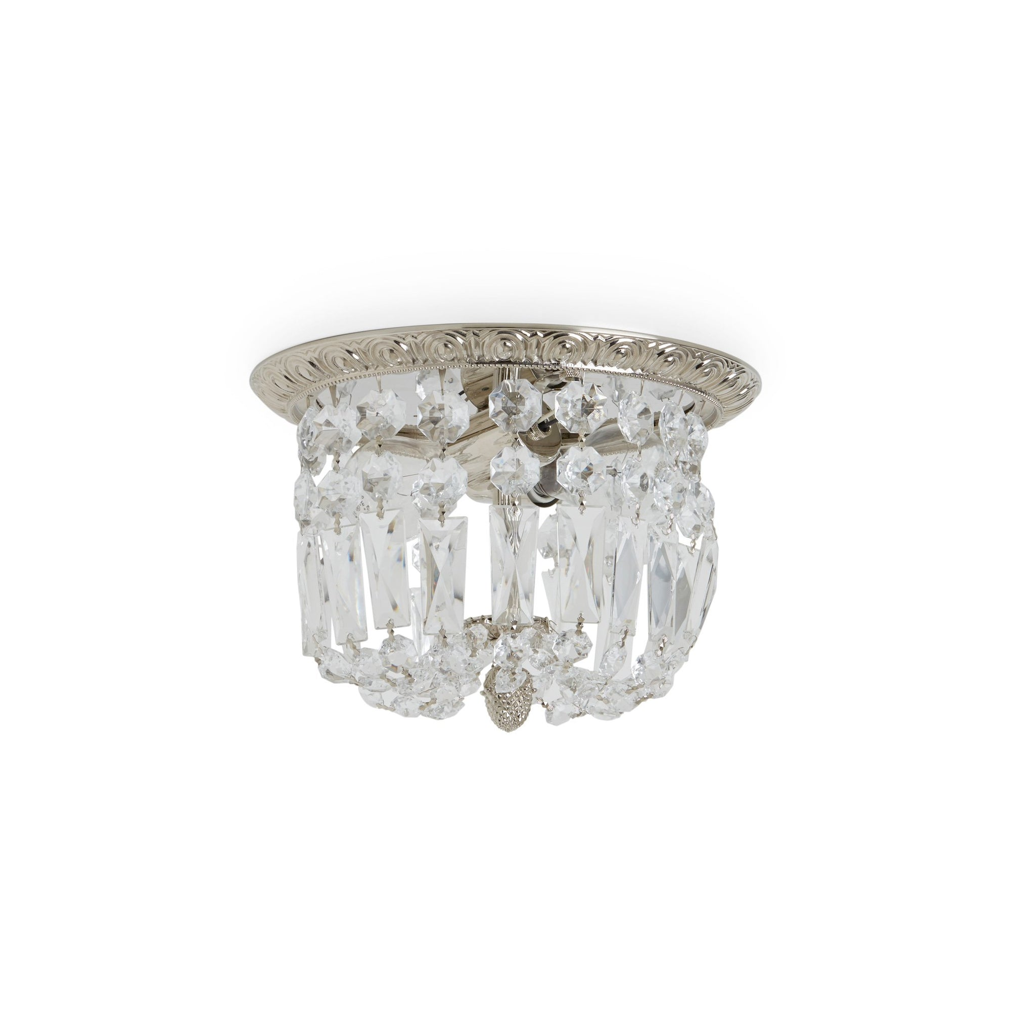7131-DRPD-PN Sherle Wagner International Egg & Dart Ceiling Light Light with Draped Crystals in Gold plate metal finish
