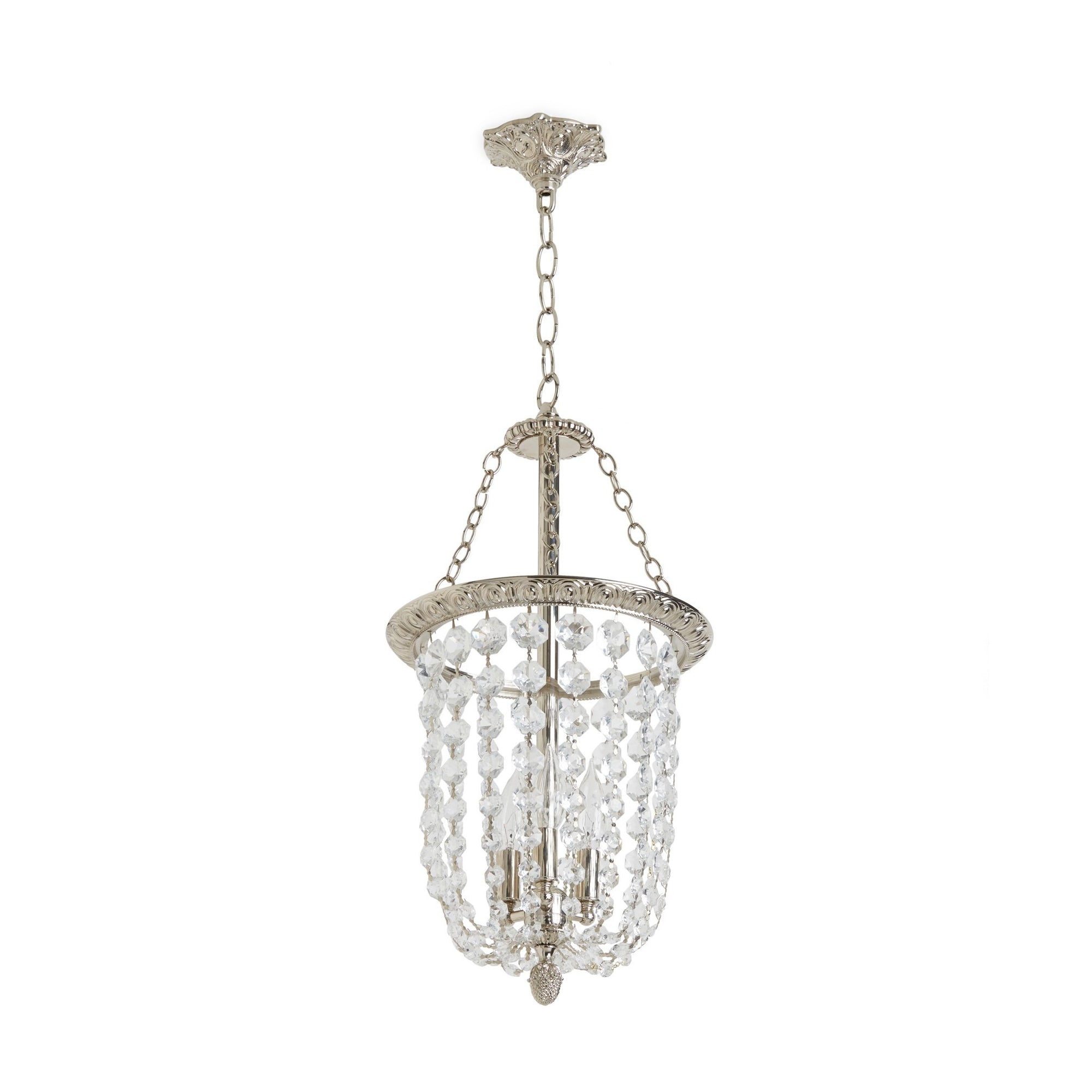 7131-PNDT-DRPD-PN Sherle Wagner International Egg & Dart Pendant Light with Draped Crystals in Gold plate metal finish