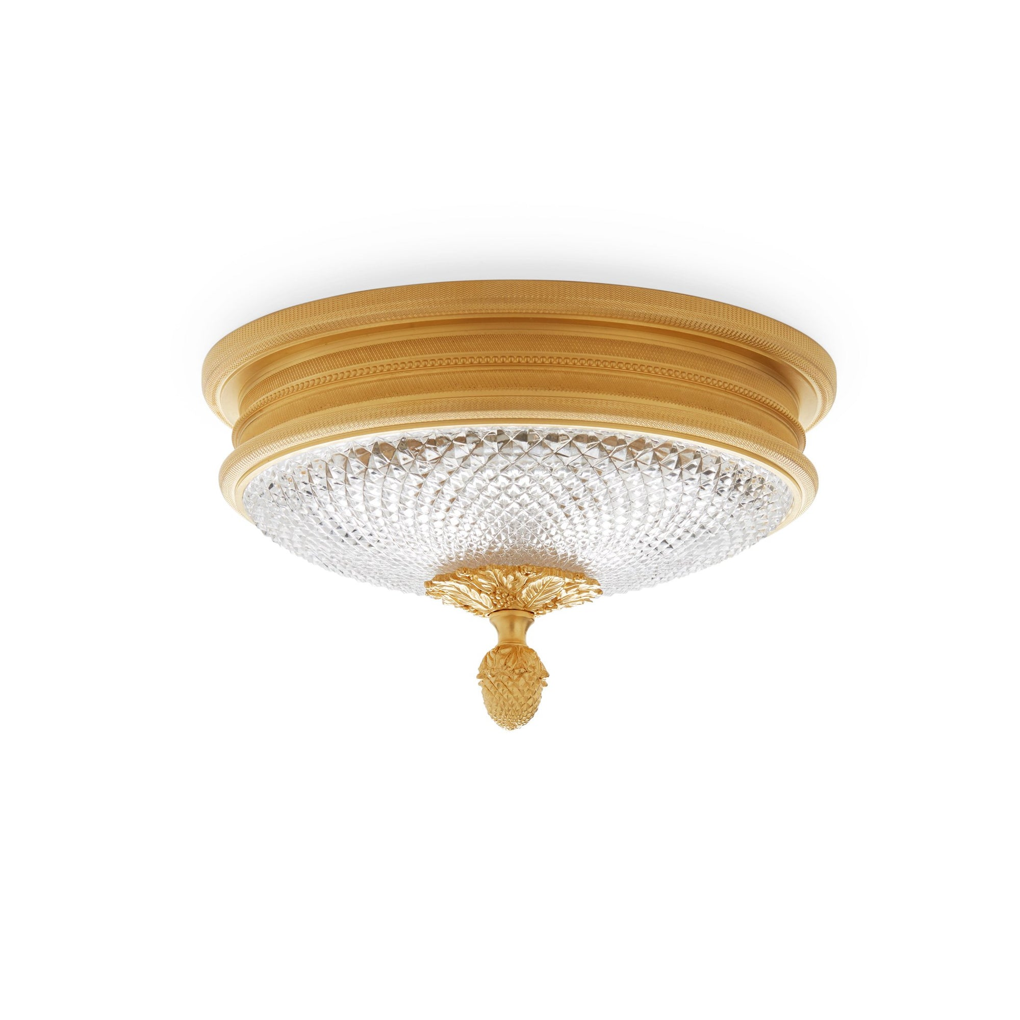 7132-GP Sherle Wagner International Knurled Ceiling Light in Gold Plate metal finish