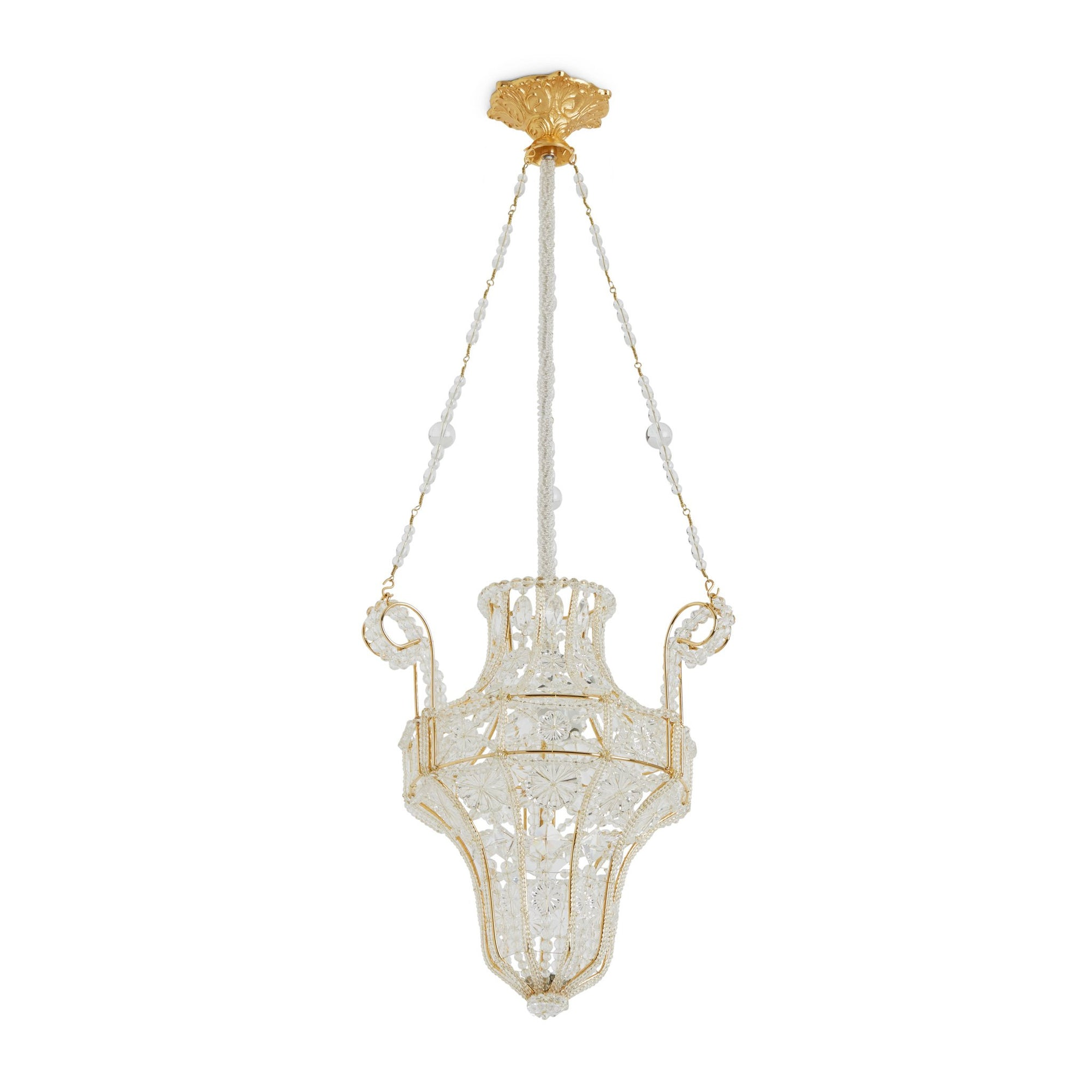 7138-GP Sherle Wagner International Crystal Pendant Chandelier with Renaissance Canopy in Gold plate metal finish