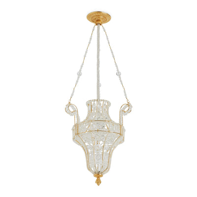 7138AC-GP Sherle Wagner International Crystal Pendant Chandelier with Acanthus Canopy in Gold plate metal finish