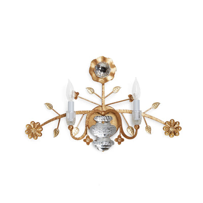 7140-G Sherle Wagner International Crystal Sunflower Sconce in Florentine Gold