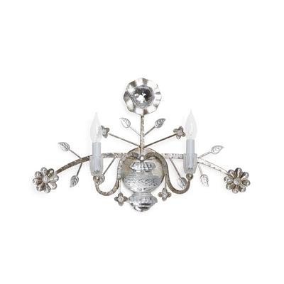 7140-S Sherle Wagner International Crystal Sunflower Sconce in Florentine Silver