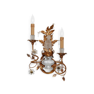 7143-FEMALE-G Sherle Wagner International Crystal Chinoiserie Sconces in Florentine Gold