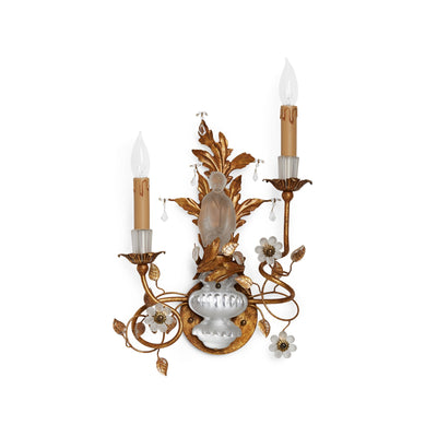 7143-MALE-G Sherle Wagner International Crystal Chinoiserie Sconces in Florentine Gold