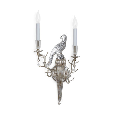 7150-LH-S Sherle Wagner International Crystal Bird Sconces in Florentine Silver