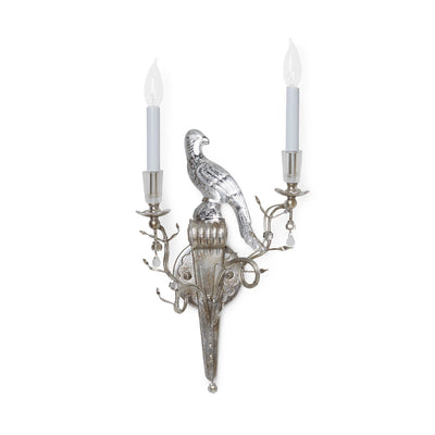 7150-RH-S Sherle Wagner International Crystal Bird Sconces in Florentine Silver