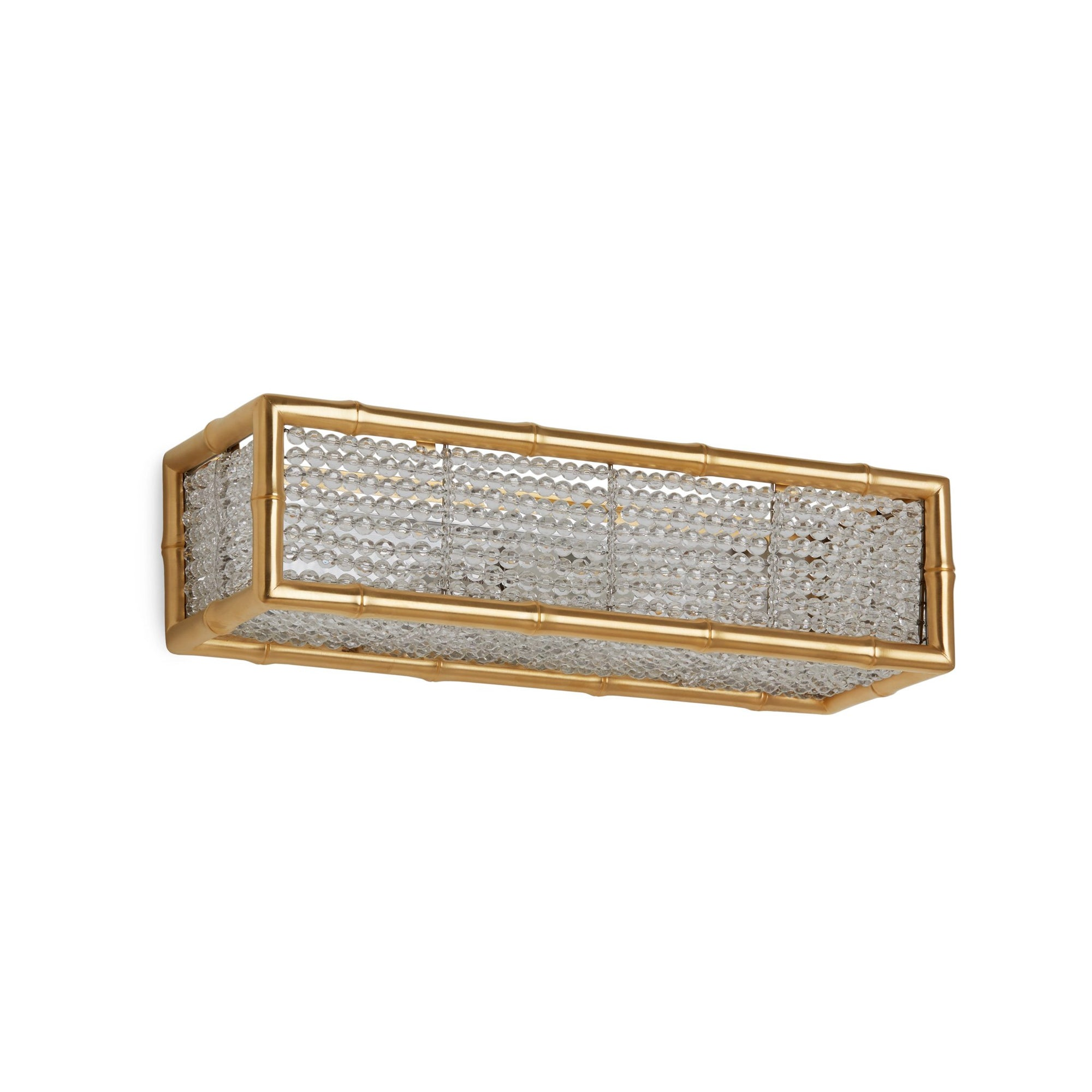 7151CB-16-GP Sherle Wagner International Bamboo Crystal Beaded Panel Light in Gold Plate metal finish