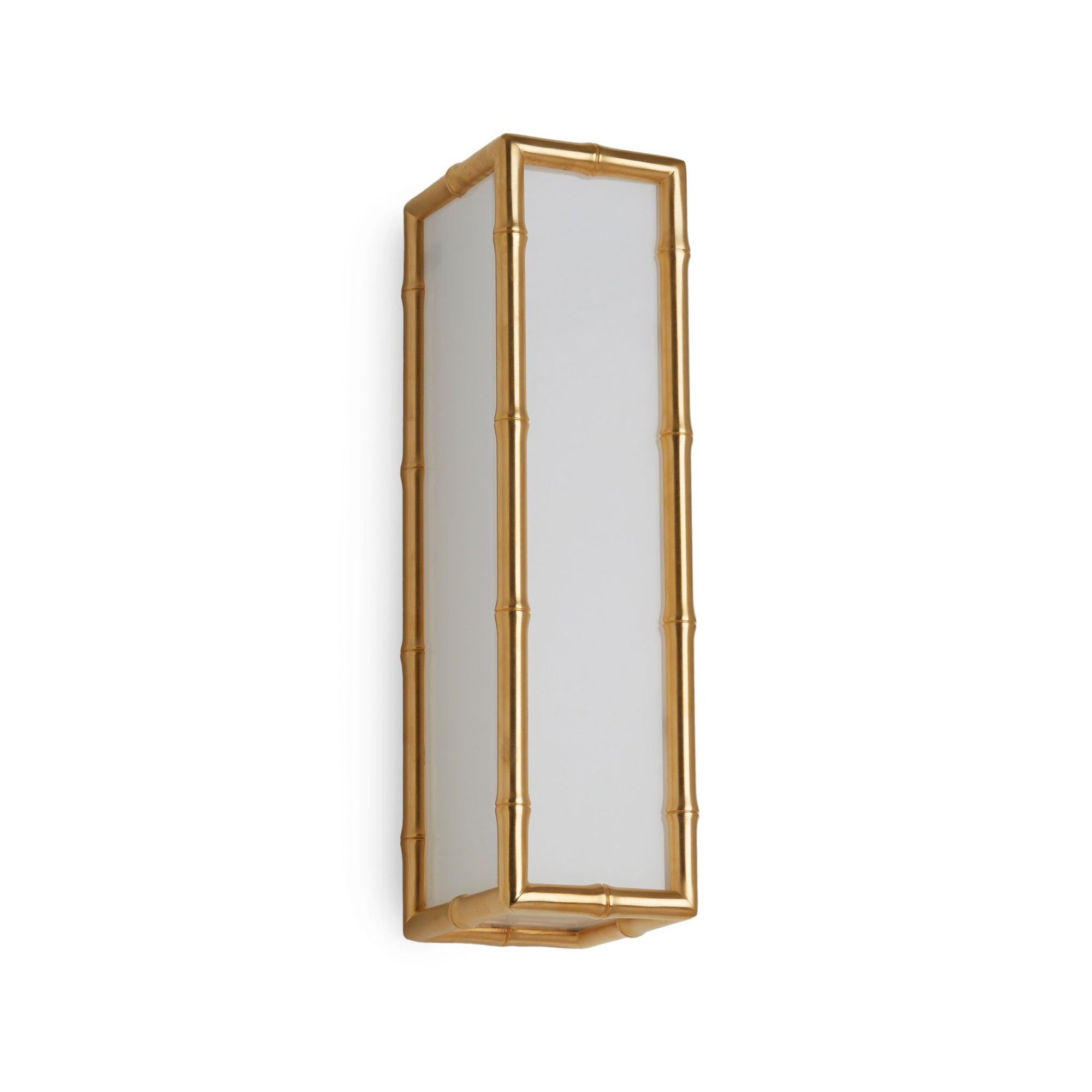 7151FG-16-VERT-GP Sherle Wagner International Bamboo Frosted Glass Panel Light in Gold Plate metal finish