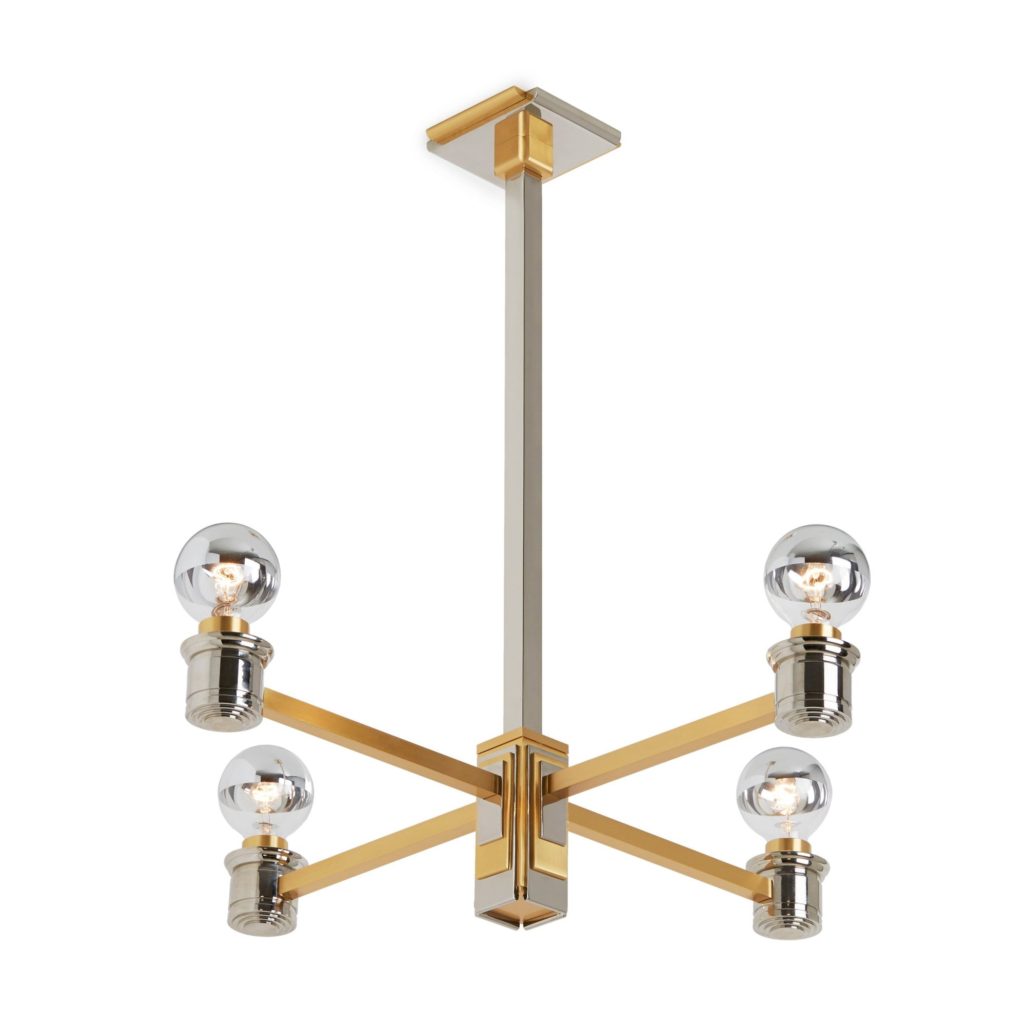7210-CHND-PN_GP Sherle Wagner International Nouveau Chandelier in Polished Nickel and Gold plate metal finish