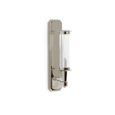 7280SC-13-1ACG-PN Sherle Wagner International Harrison Single Arm Sconce with Clear Tube in Polished Nickel metal finish