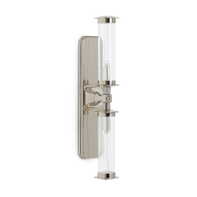 7280SC-13-2ACG-PN Sherle Wagner International Harrison Double Arm Sconce with Clear Tube in Polished Nickel metal finish