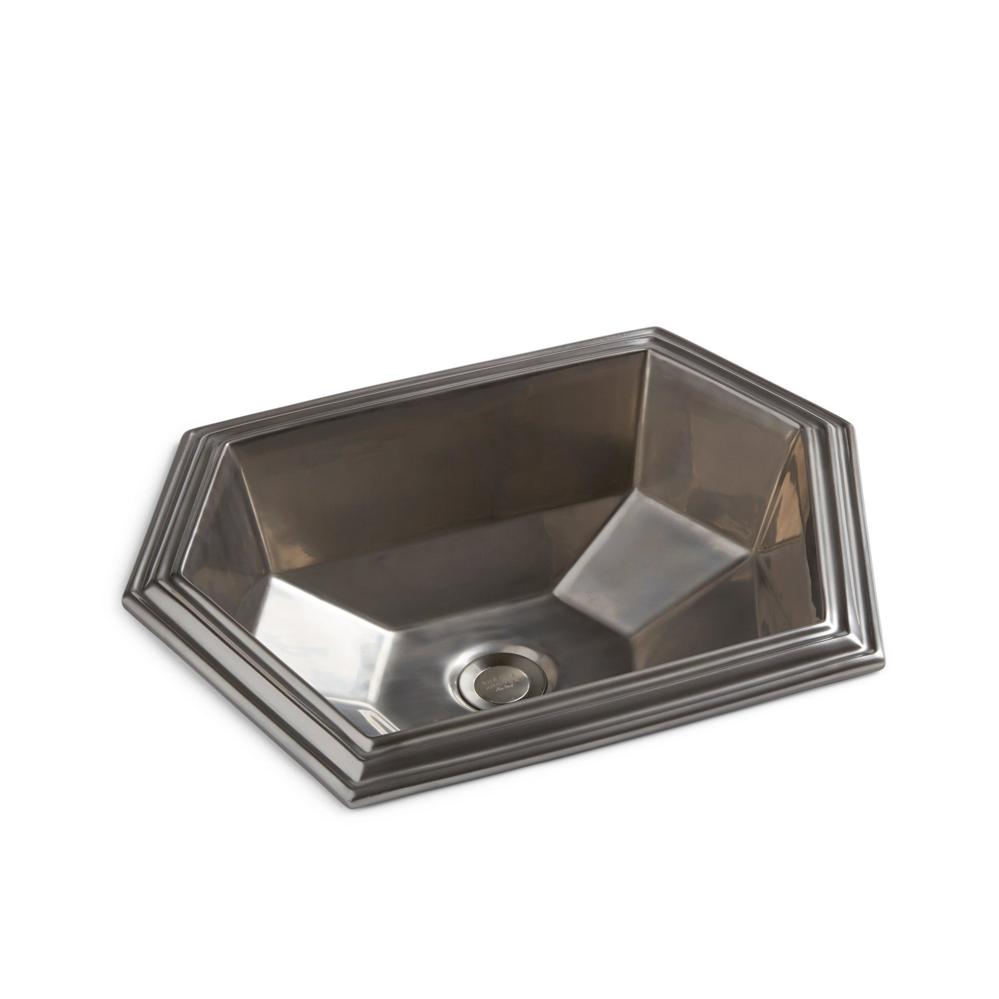 OE11-15PL Sherle Wagner International Burnished Platinum Glazed Modern Hexagon Ceramic Over Edge Sink