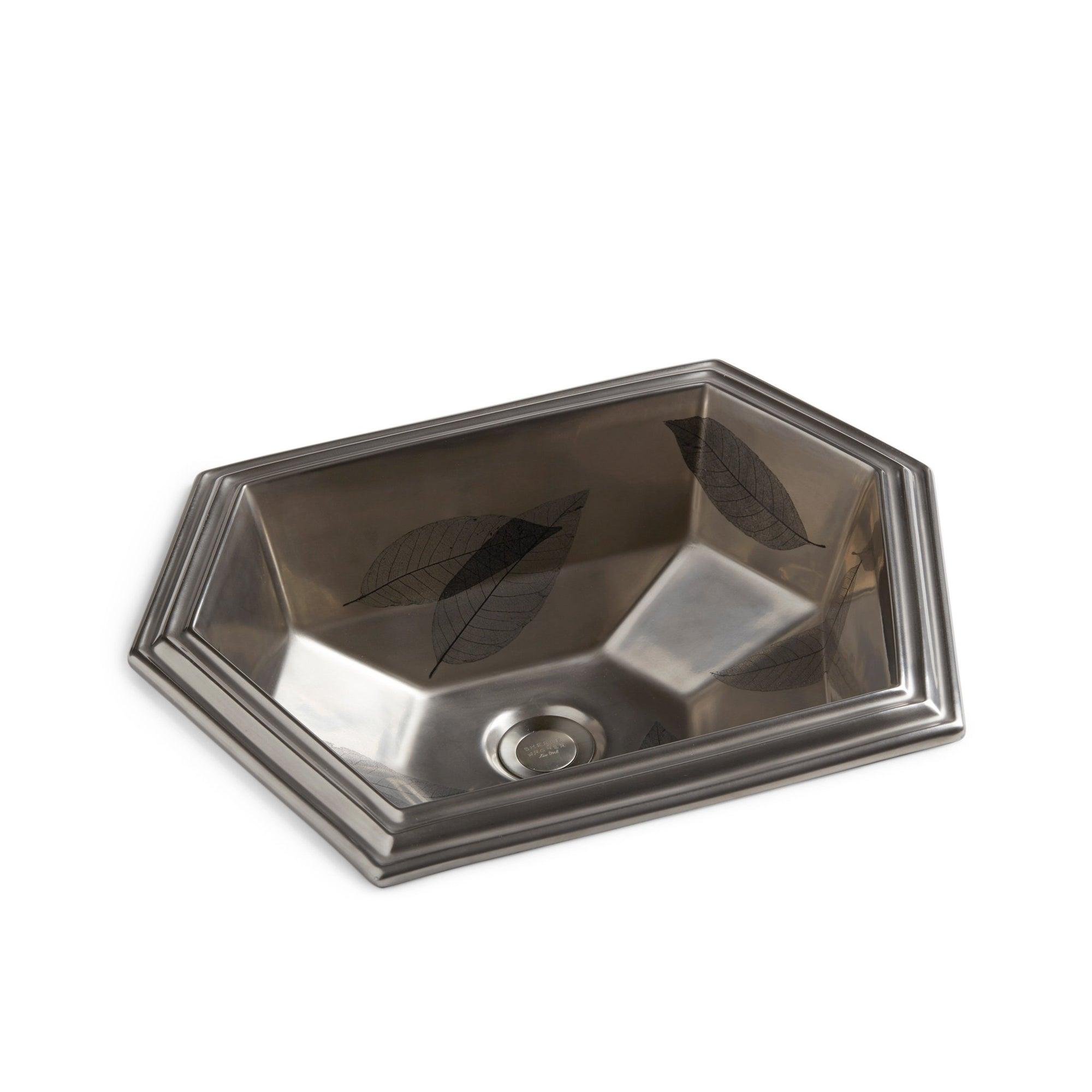 OE11-25BK-15PL Sherle Wagner International Black Random Leaves on on Burnished Platinum Modern Hexagon Ceramic Over Edge Sink