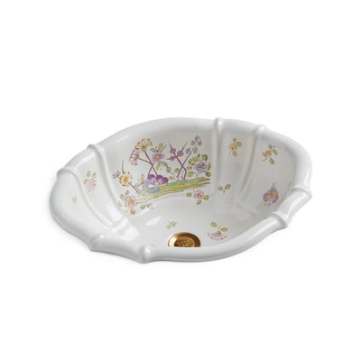 OE3-54OF-WH Sherle Wagner International Oriental Flowers on White Scalloped Ceramic Over Edge Sink