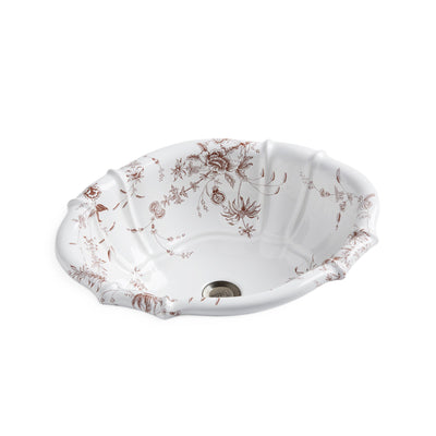 OE3-89SP-WH Sherle Wagner International Le Jardin Sepia on White Scalloped Ceramic Over Edge Sink