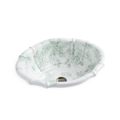 OE3-99SG-WH Sherle Wagner International Acorn & Oakleaf Sage on White Scalloped Ceramic Over Edge Sink