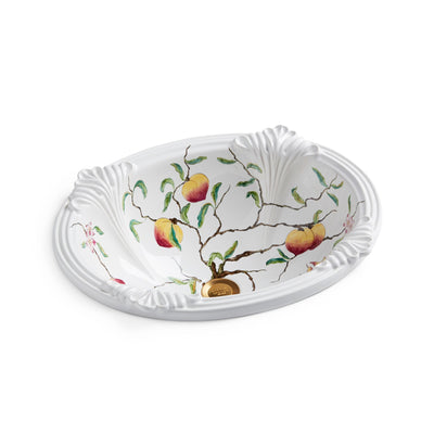 OE4-111P-WH Sherle Wagner International Peaches on White Provence Ceramic Over Edge Sink